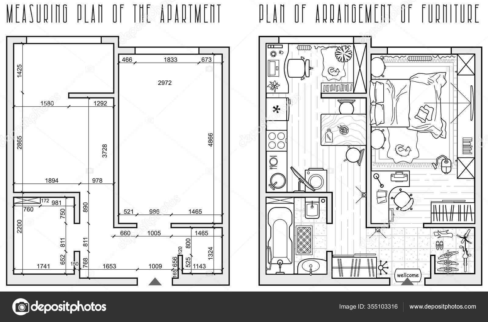 Architectural Measuring Plan Apartment Floor Plan Arrangement Furniture View Vector Stock Vector C Parmenow 355103316