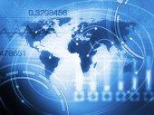 Concetto del mondo Business sfondo in blu