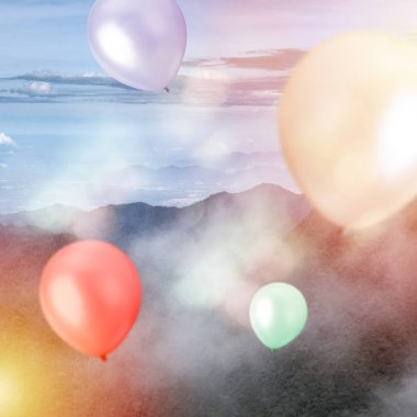 Balloons outside - Celebration, Birthday Party concept