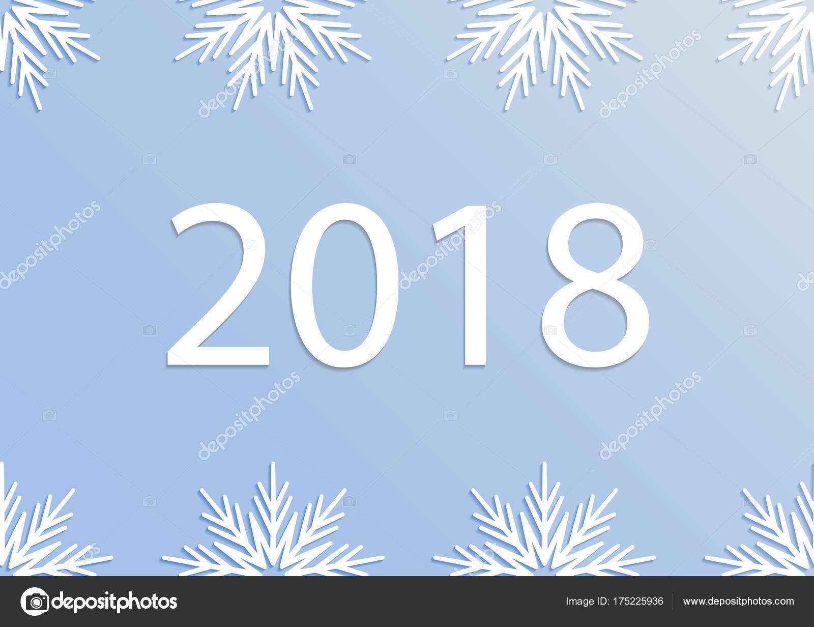 Tarjeta de feliz año nuevo 2018 con copos de nieve de papel 3d. Tipo ...