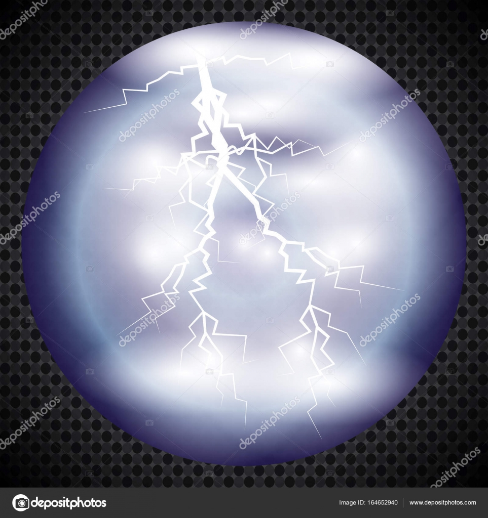 Magic crystal ball of glass and lightning White transparent glass