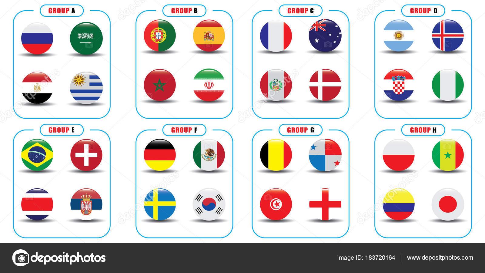 Copa Mundial Fútbol Banderas Dibujos Gráfico