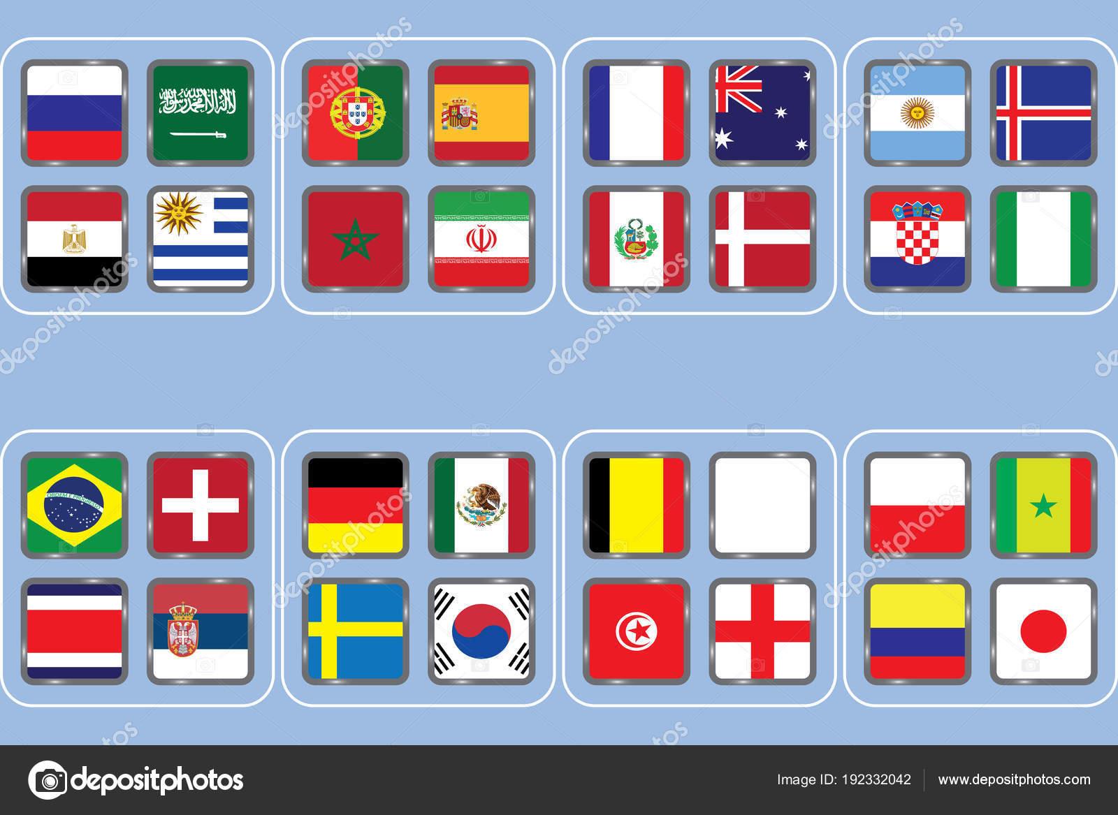 Fussball Weltmeisterschaft Gruppen Vektor Landflaggen Fussball