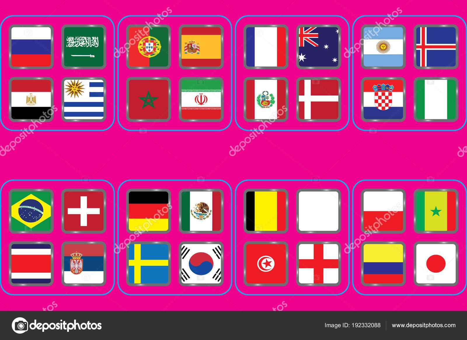 Fussball Welt Meisterschaft Gruppen Vektor Landerflaggen 2018