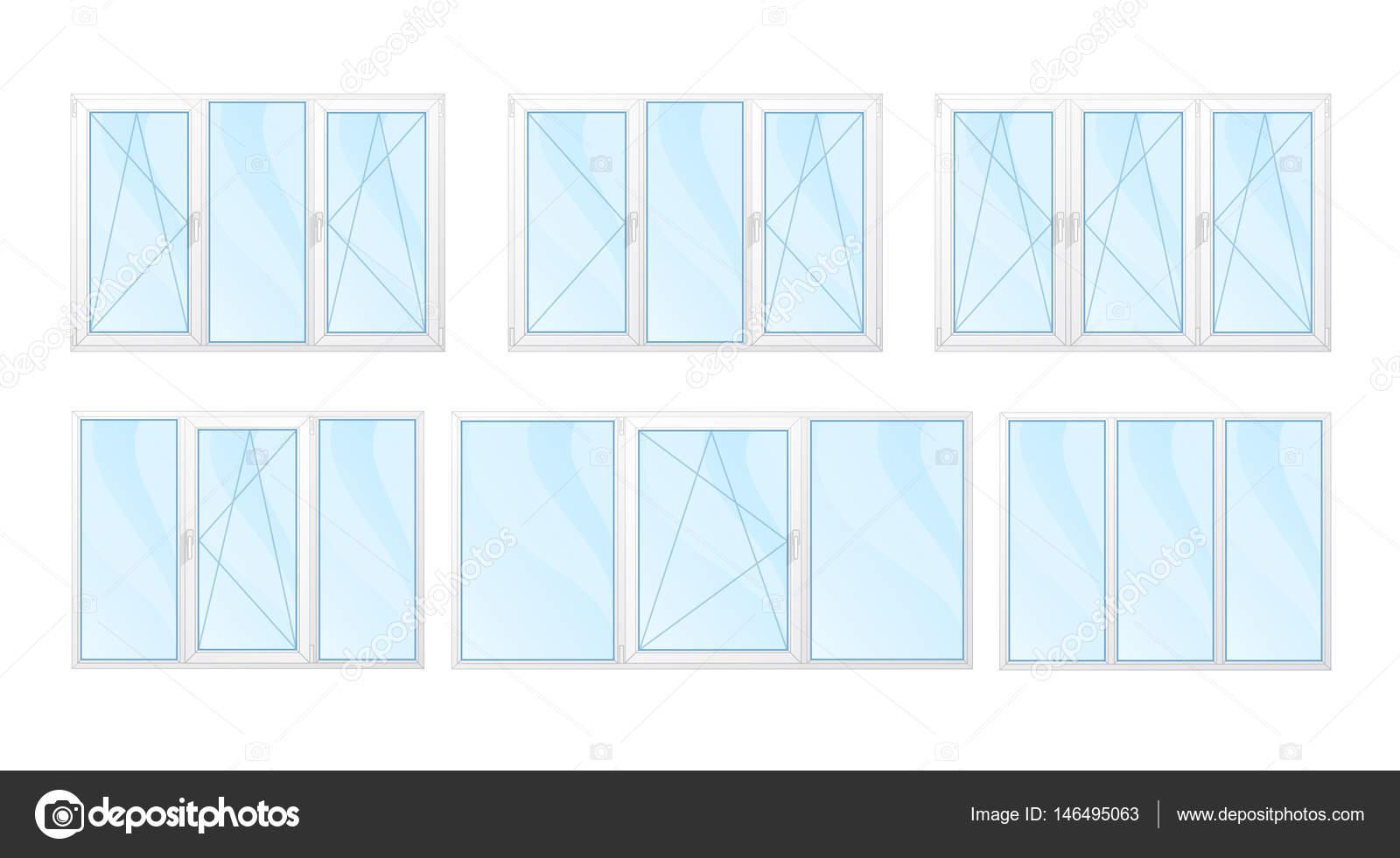 Windows mit weißen Rahmen und blauem Glas set isoliert Vektor krank ...