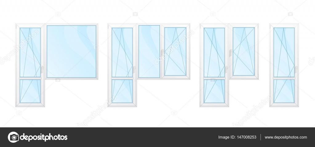 Balkonfenster mit weißen Rahmen und blauem Glas Set isoliert ve ...