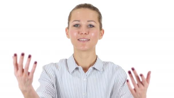 einladende Geschäftsfrau, weißer Hintergrund