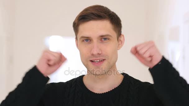 Portrét vítězství člověka v úřadu slaví úspěch