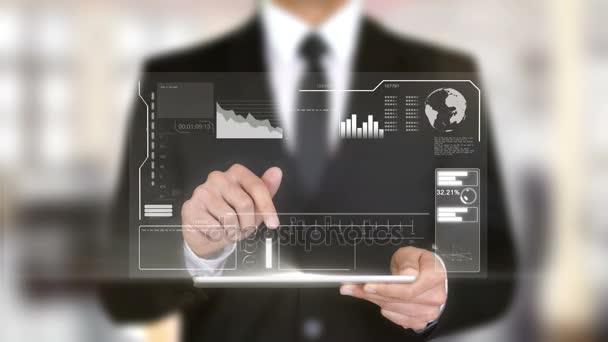 Strategiemanagement, Hologramm futuristische Schnittstelle, erweiterte virtuelle Realität
