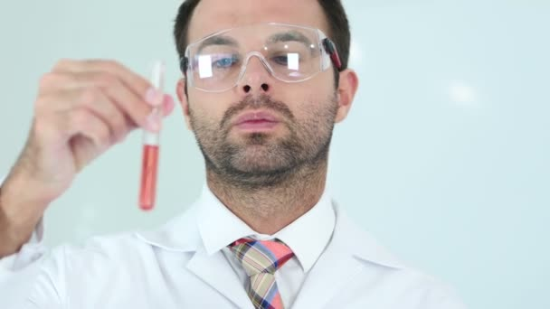 Scientist Studying red Solution in Test Tube in Laboratory