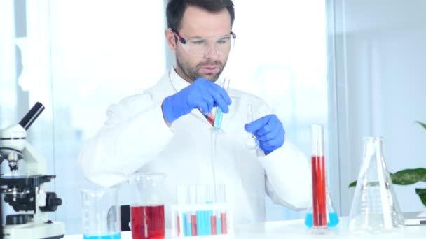 Wissenschaftler mit Forschung und Reaktion im Labor beschäftigt