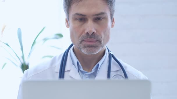 Online Video Chat by Doctor on Laptop, Close Up