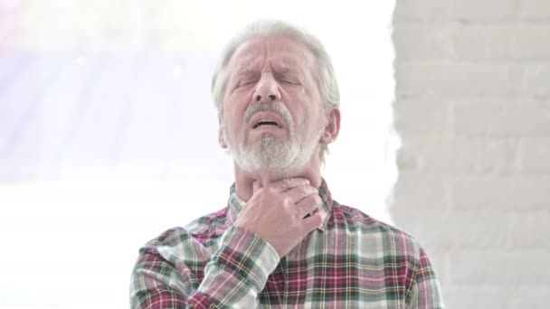 Portrait of Sick Casual Old Man having Throat Pain