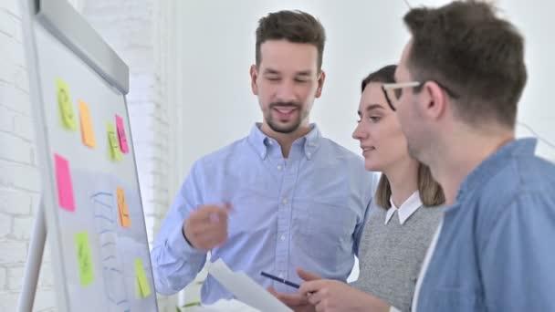 Ambiciózus kreatív csapat Brainstorming a Whiteboard az irodában