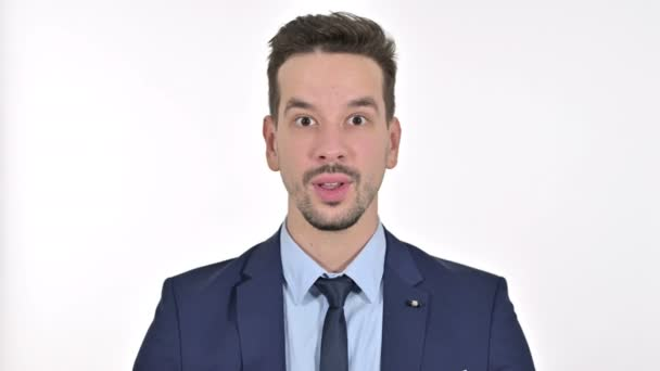 Portrait of Ambitious Young Businessman Celebrating Success, White Background