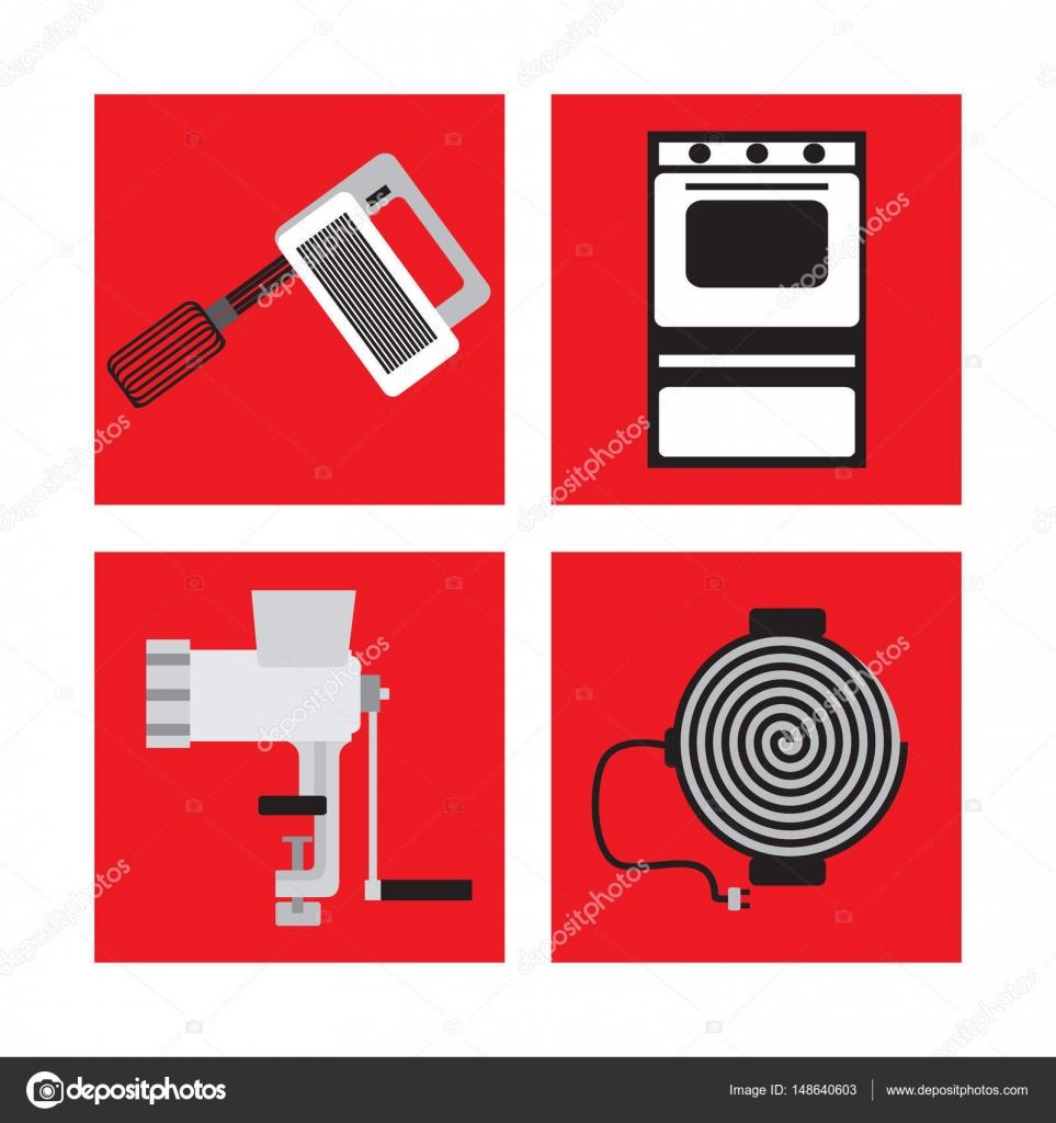 Set mit Küchengeräte im Retro-Stil, Mixer, Fleischwolf, Gasherd ...