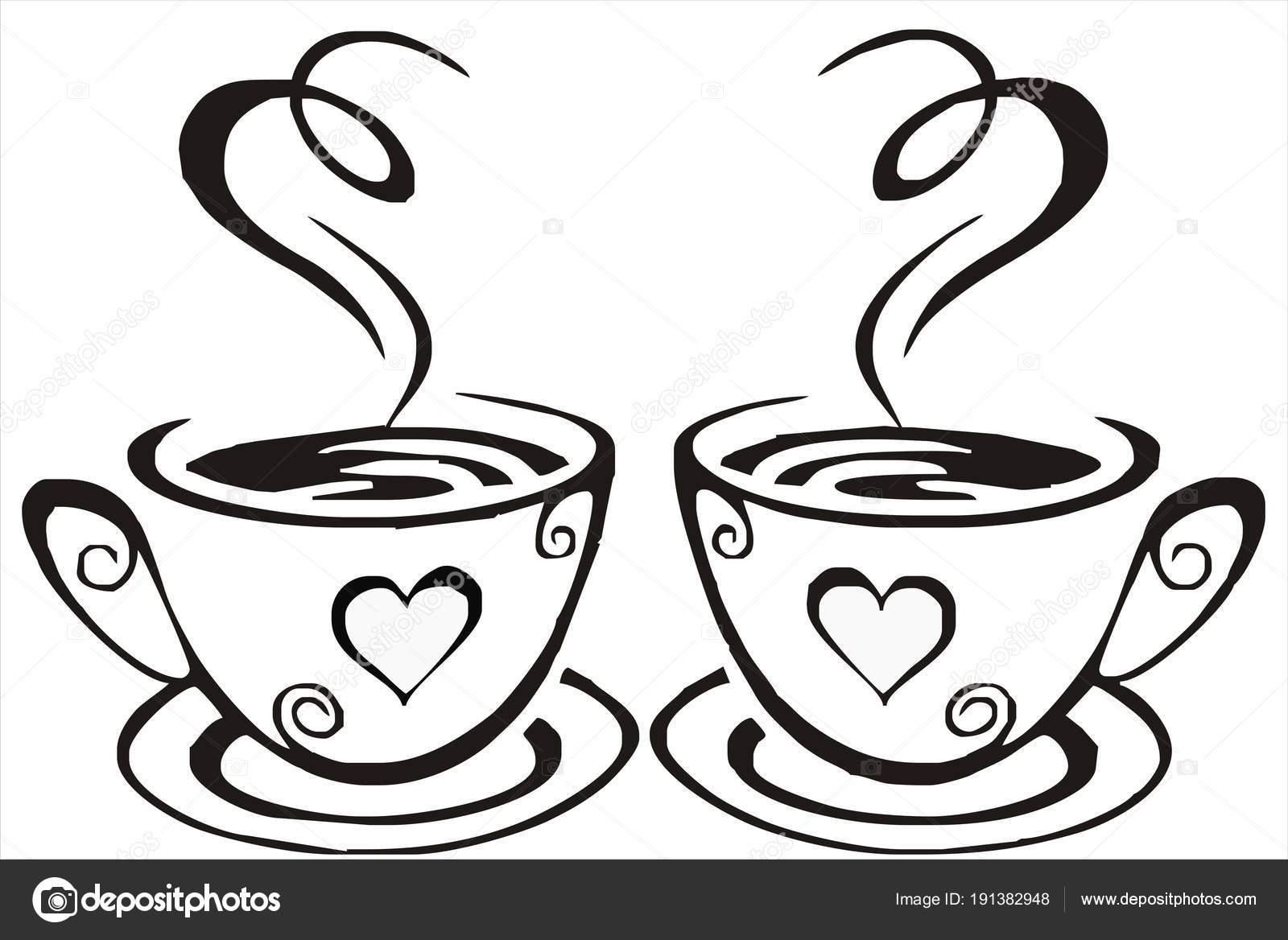 Silueta Tazas Con Café Aromático