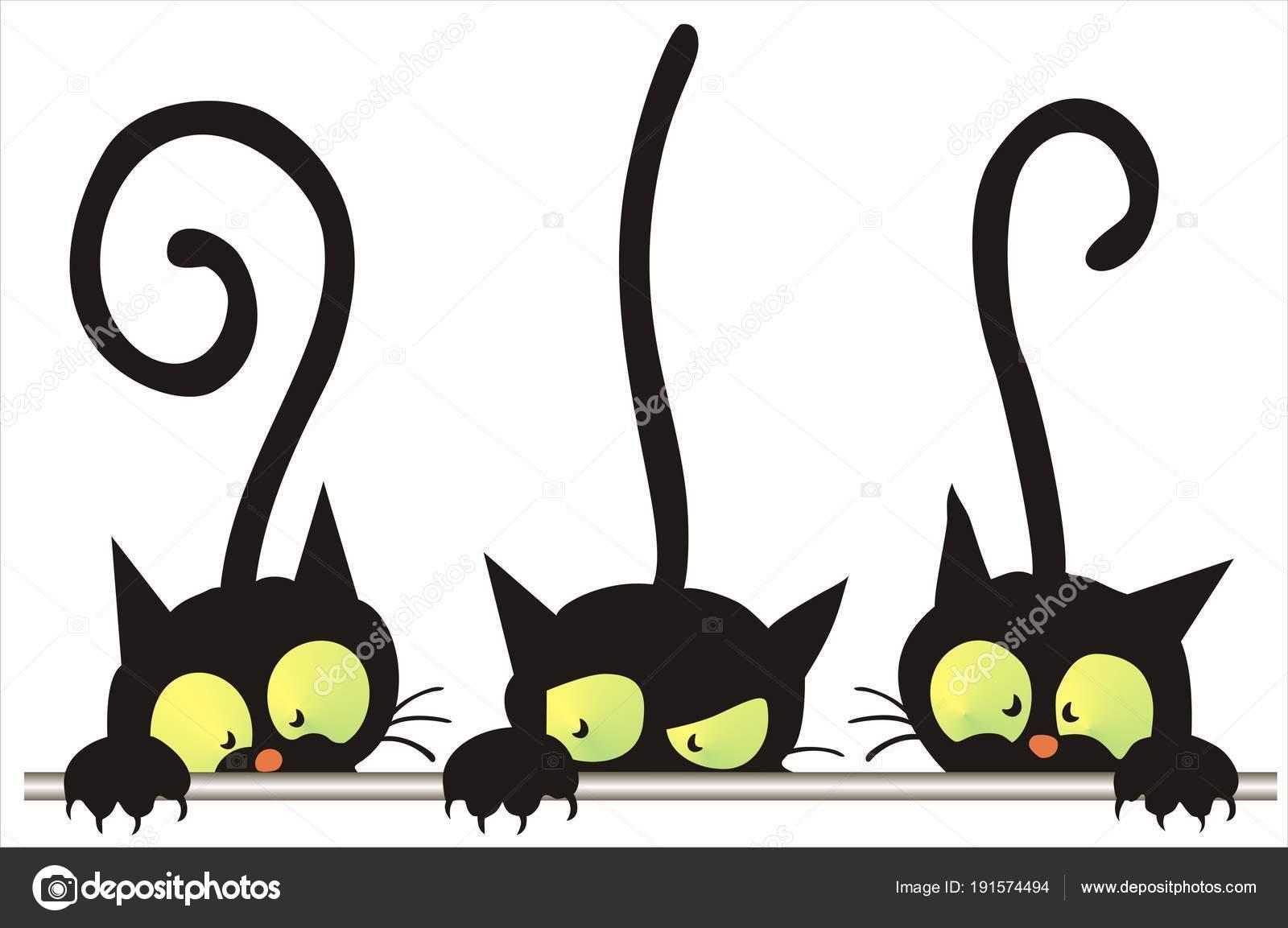Silueta De Tres Gatos Siluetas Tres Gatos Ingeniosos Vector Clip
