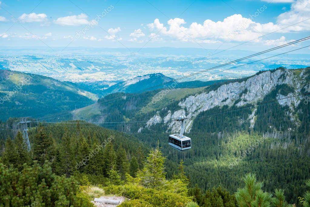 Mountain cableway in poland Tatras, Zakopane