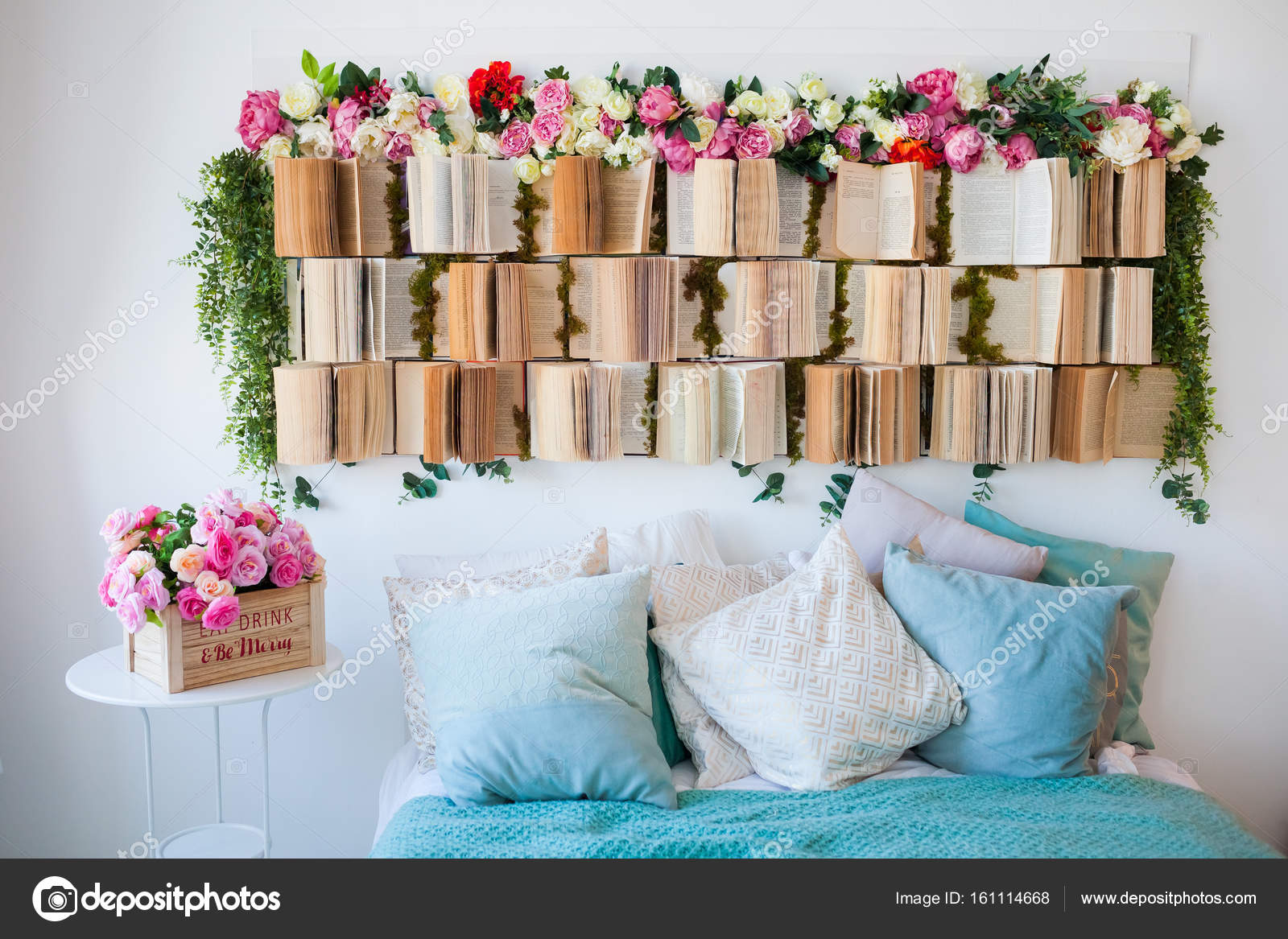 The Unusual Design Of The Bedroom The Headboard Is Decorated With