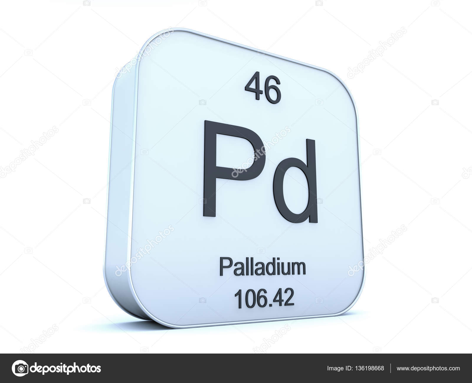 Palladium Element On White Square Icon Fotos De Stock Conceptw