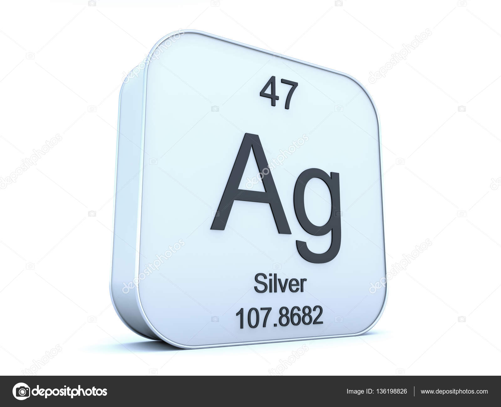 Silver Element On White Square Icon Stock Photo Conceptw 136198826