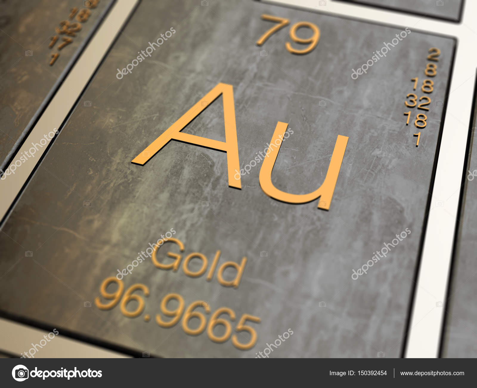 Gold element symbol stock photo conceptw 150392454 gold element symbol from periodic table 3d rendered with depth of field photo by conceptw urtaz Images
