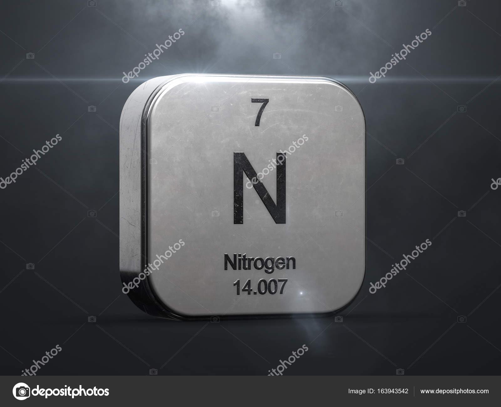 Elemento de la tabla peridica en nitrgeno icono de metal 3d con elemento de la tabla peridica en nitrgeno icono de metal 3d con destello de lente urtaz Choice Image