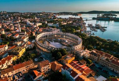 Pula Arena at sunset, Croatia