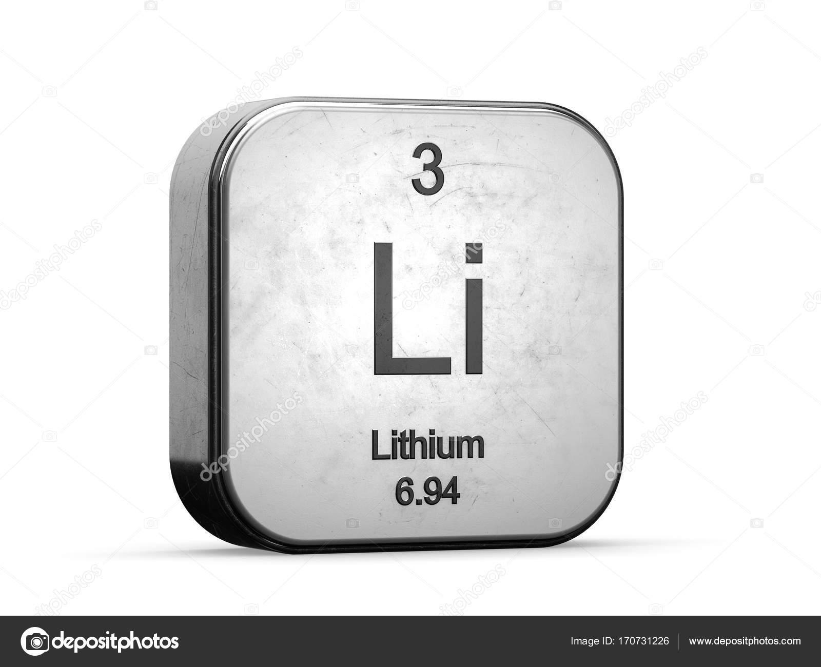 elemento de la tabla peridica de litio icono metlico 3d prestados sobre fondo blanco foto de conceptw - Tabla Periodica Litio