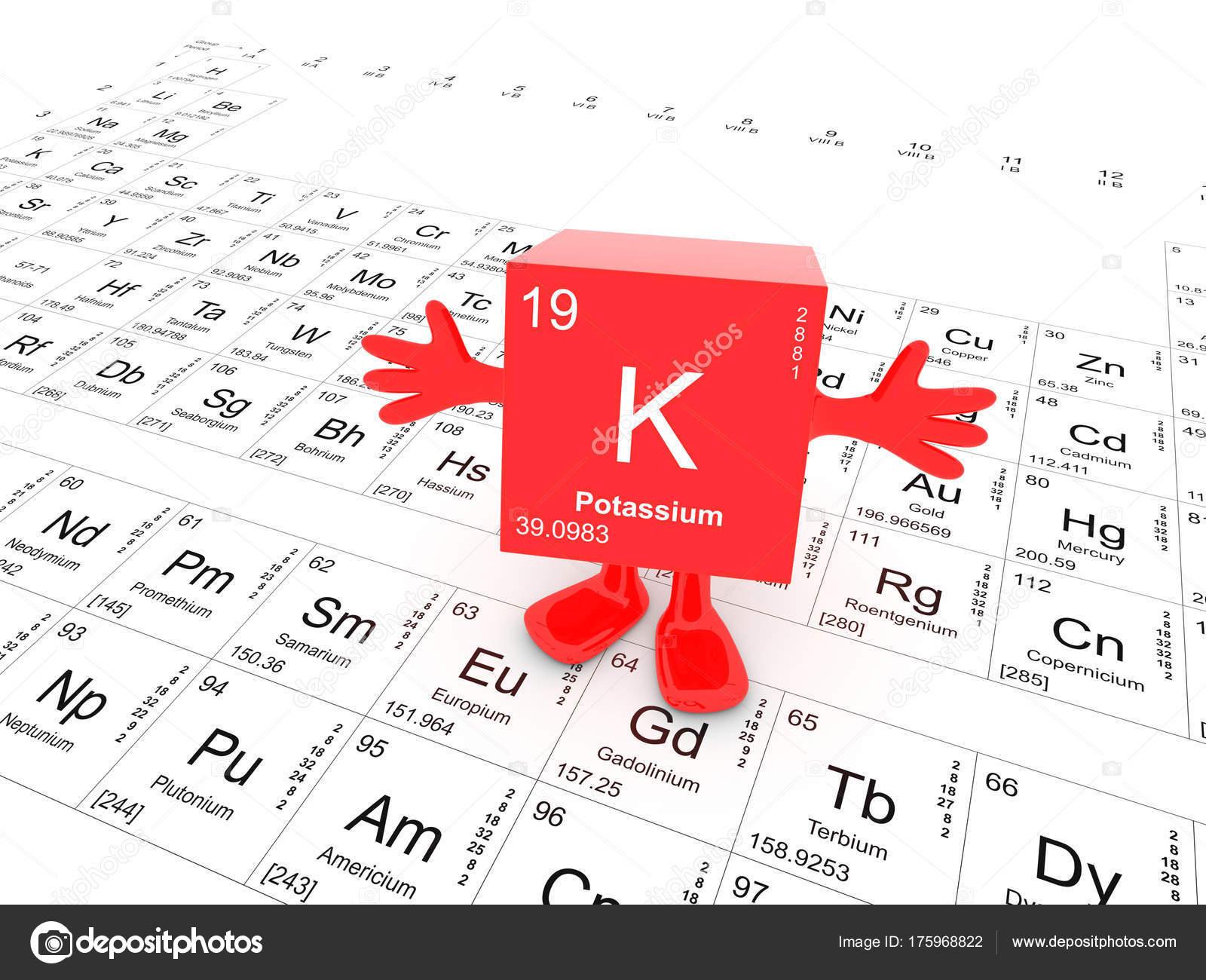 Potassium Element Symbol Periodic Table Happy Red Cube Hands Stock
