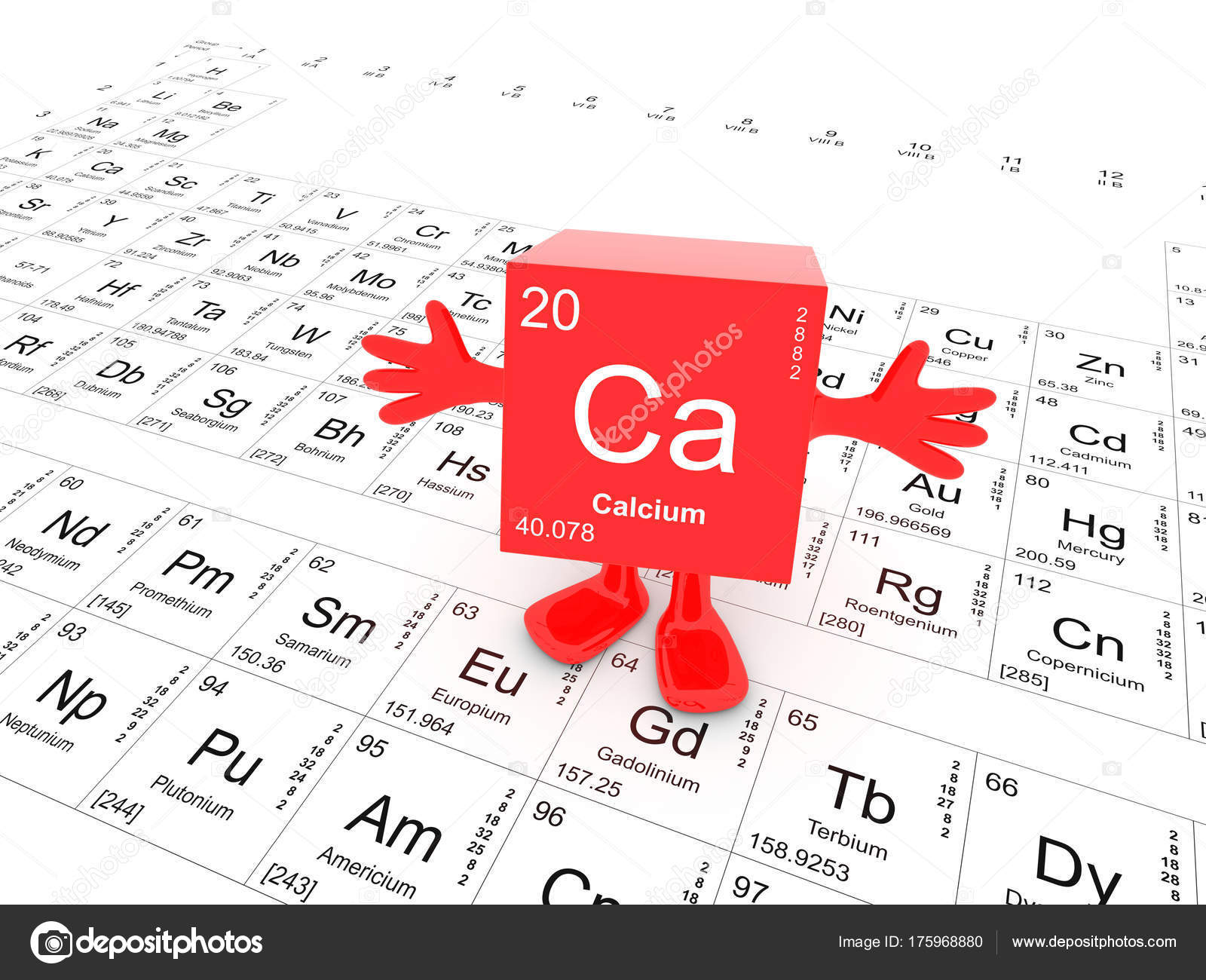 Calcium element symbol periodic table happy red cube hands stock calcium element symbol on the periodic table happy red cube with hands up photo by conceptw urtaz Gallery