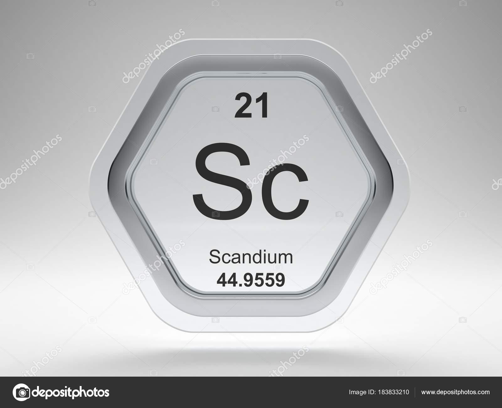 scandium symbol periodic table modern glass steel icon stock photo - Periodic Table Steel Symbol