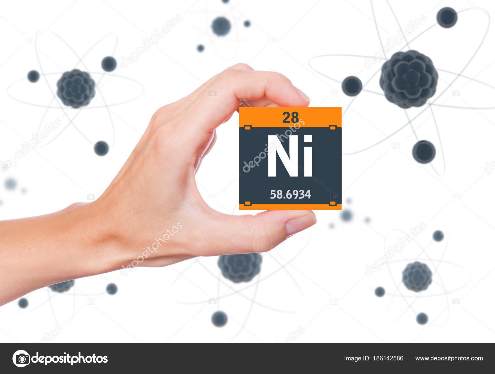 Nickel element symbol handheld atoms floating background stock nickel element symbol handheld atoms floating background stock photo buycottarizona Images