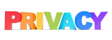 Privacy word colorful text on white background