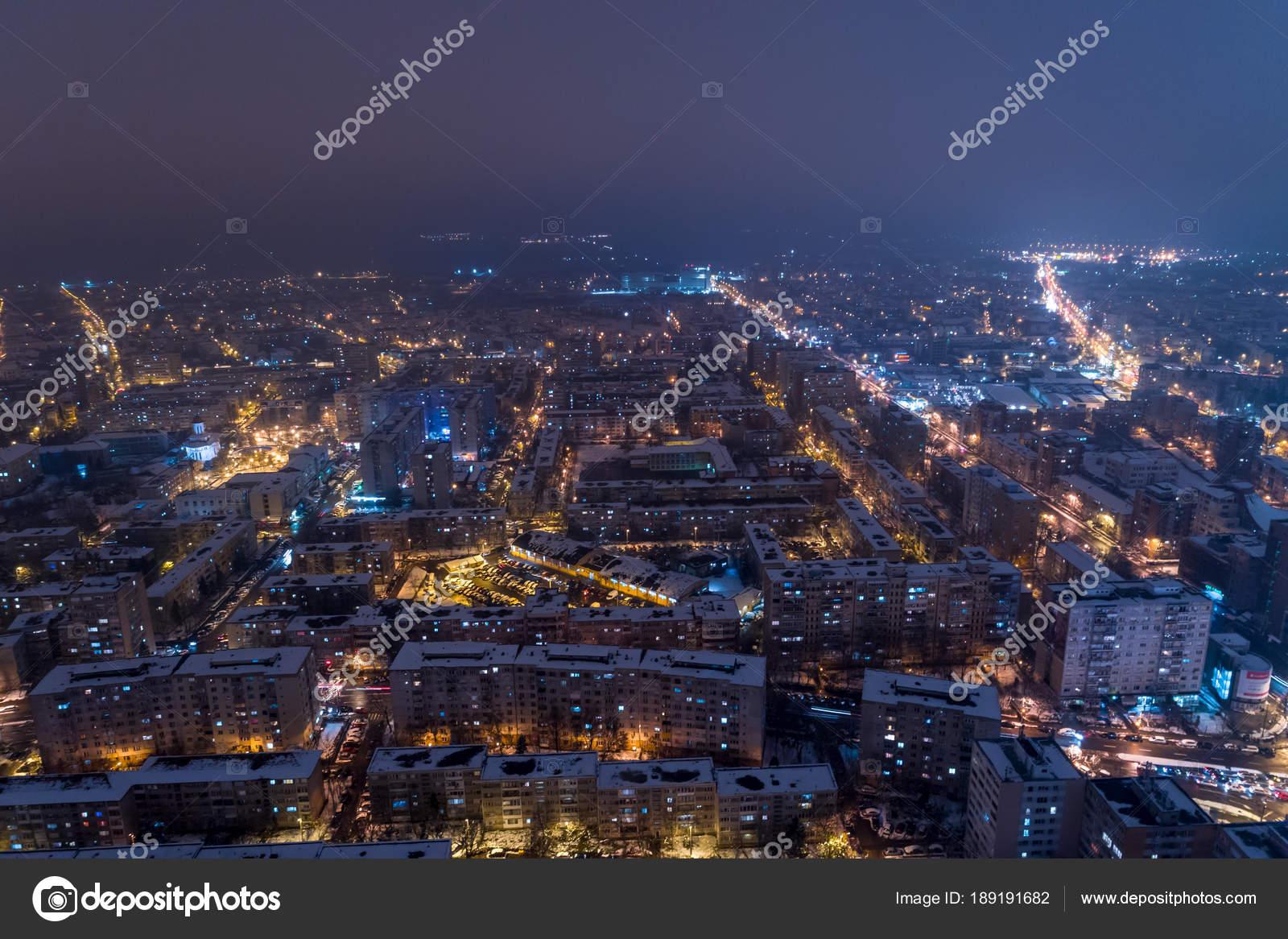 Winter Night Aerial View Timisoara Taken Professional Drone Snow City Stock Photo
