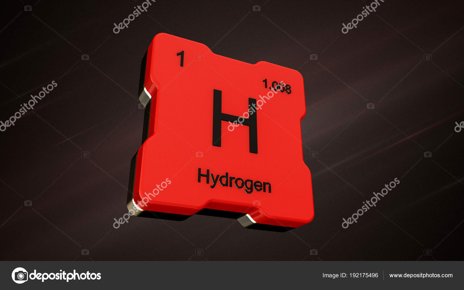 Hydrogen Element Number Periodic Table Futuristic Red Icon Nice Lens