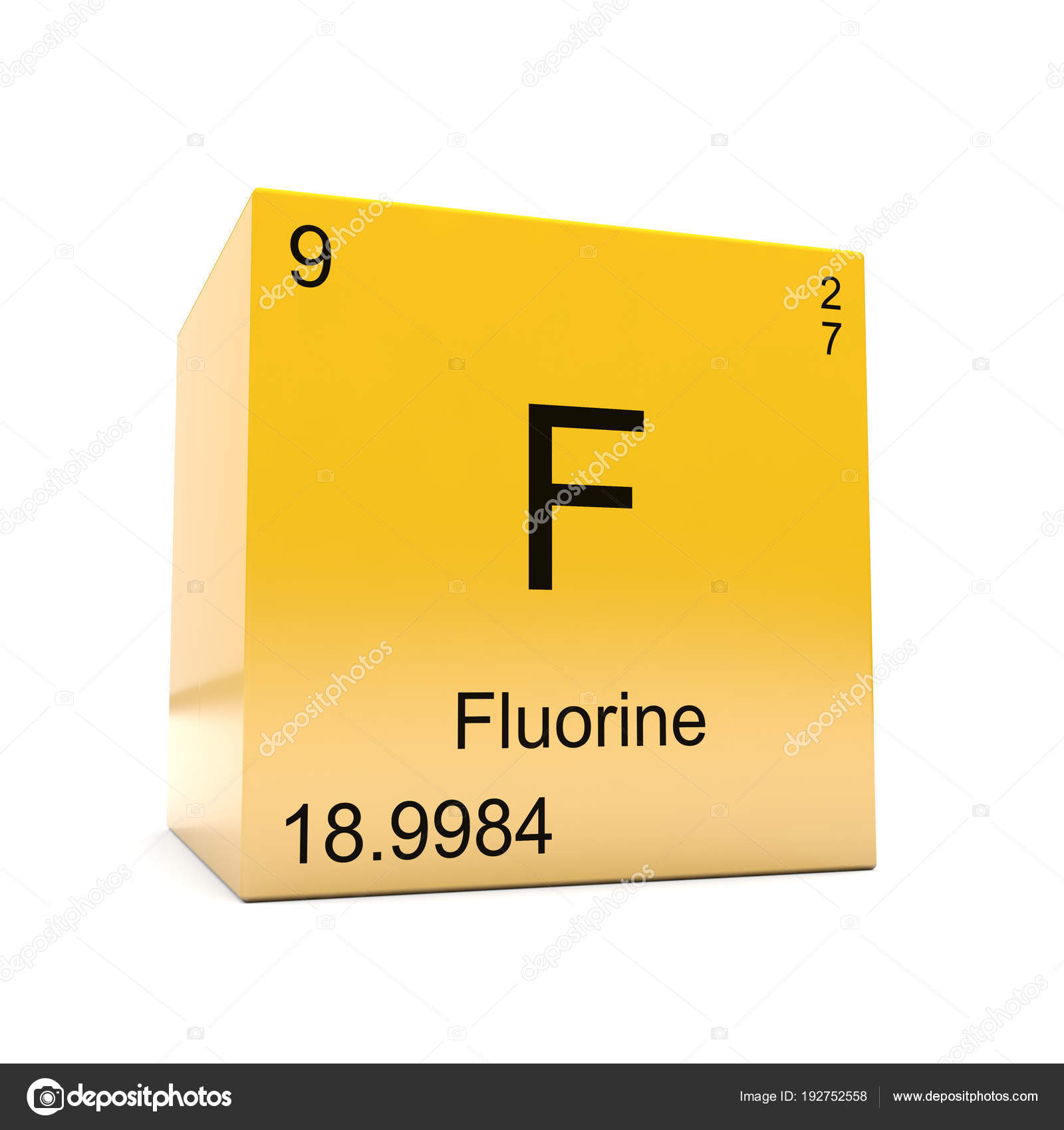 Fluorine Chemical Element Symbol Periodic Table Displayed Glossy