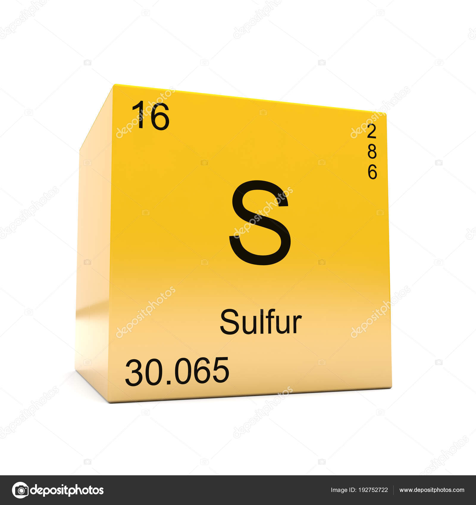 Sulfur Chemical Element Symbol Periodic Table Displayed Glossy
