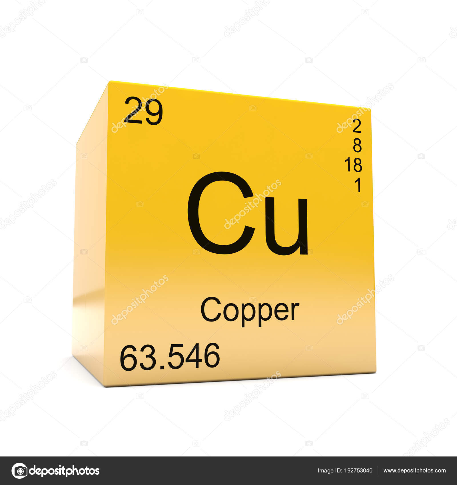 Copper chemical element symbol periodic table displayed glossy copper chemical element symbol from the periodic table displayed on glossy yellow cube photo by conceptw urtaz Choice Image