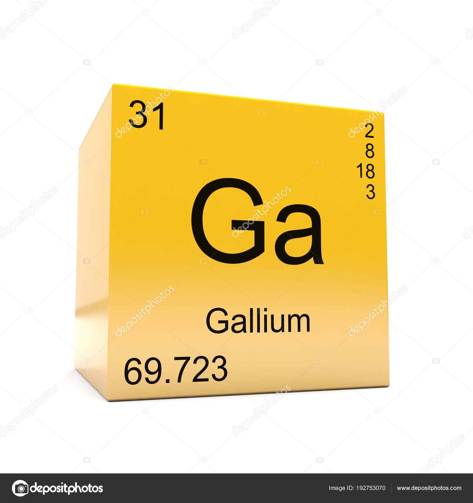 Gallium chemical element symbol periodic table displayed glossy gallium chemical element symbol periodic table displayed glossy yellow cube stock photo urtaz Images