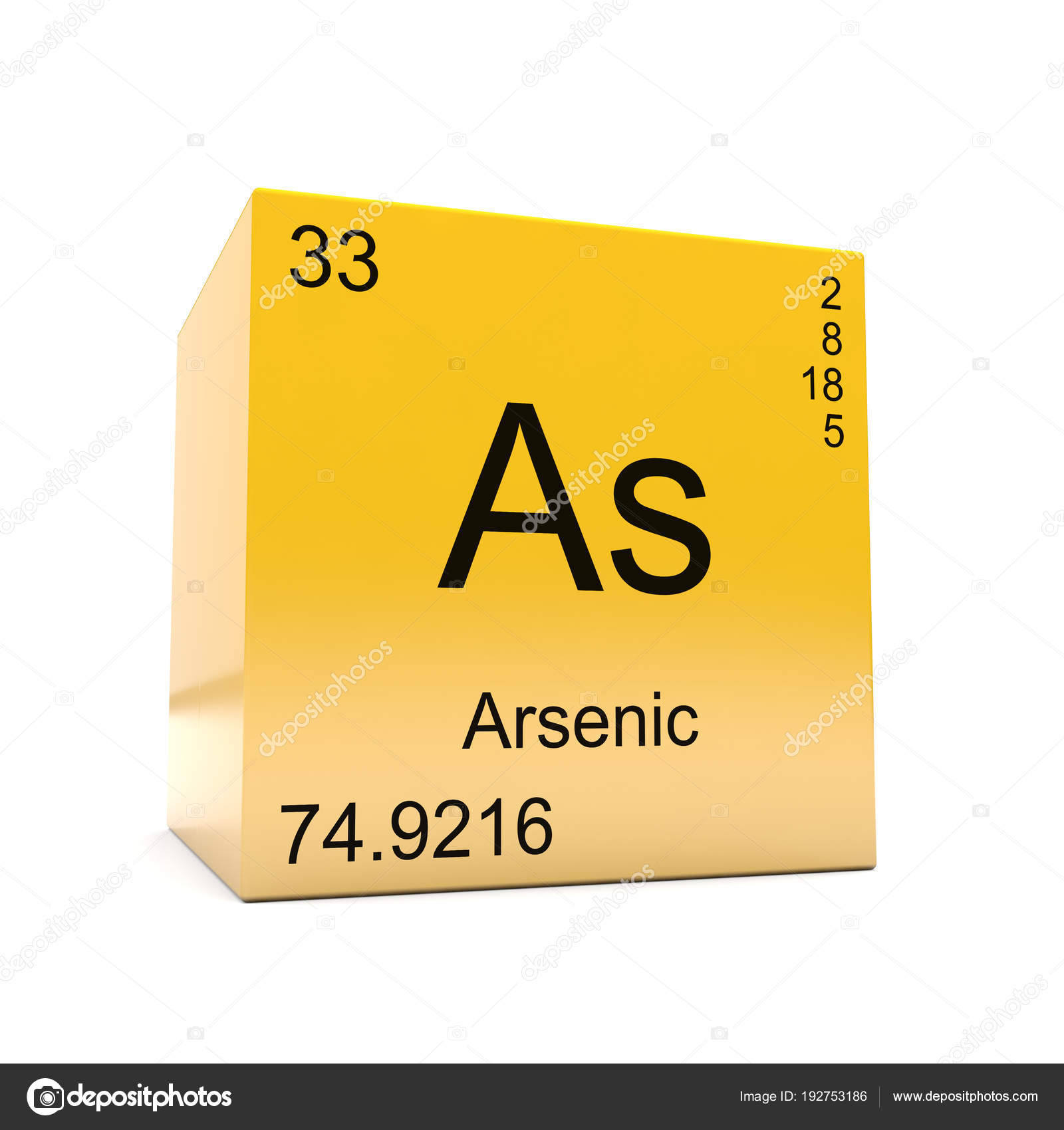Arsenic chemical element symbol periodic table displayed glossy arsenic chemical element symbol from the periodic table displayed on glossy yellow cube photo by conceptw urtaz Image collections