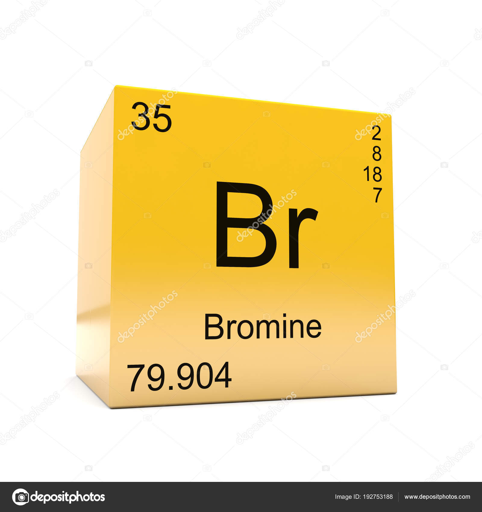 Bromine chemical element symbol periodic table displayed glossy bromine chemical element symbol from the periodic table displayed on glossy yellow cube photo by conceptw urtaz