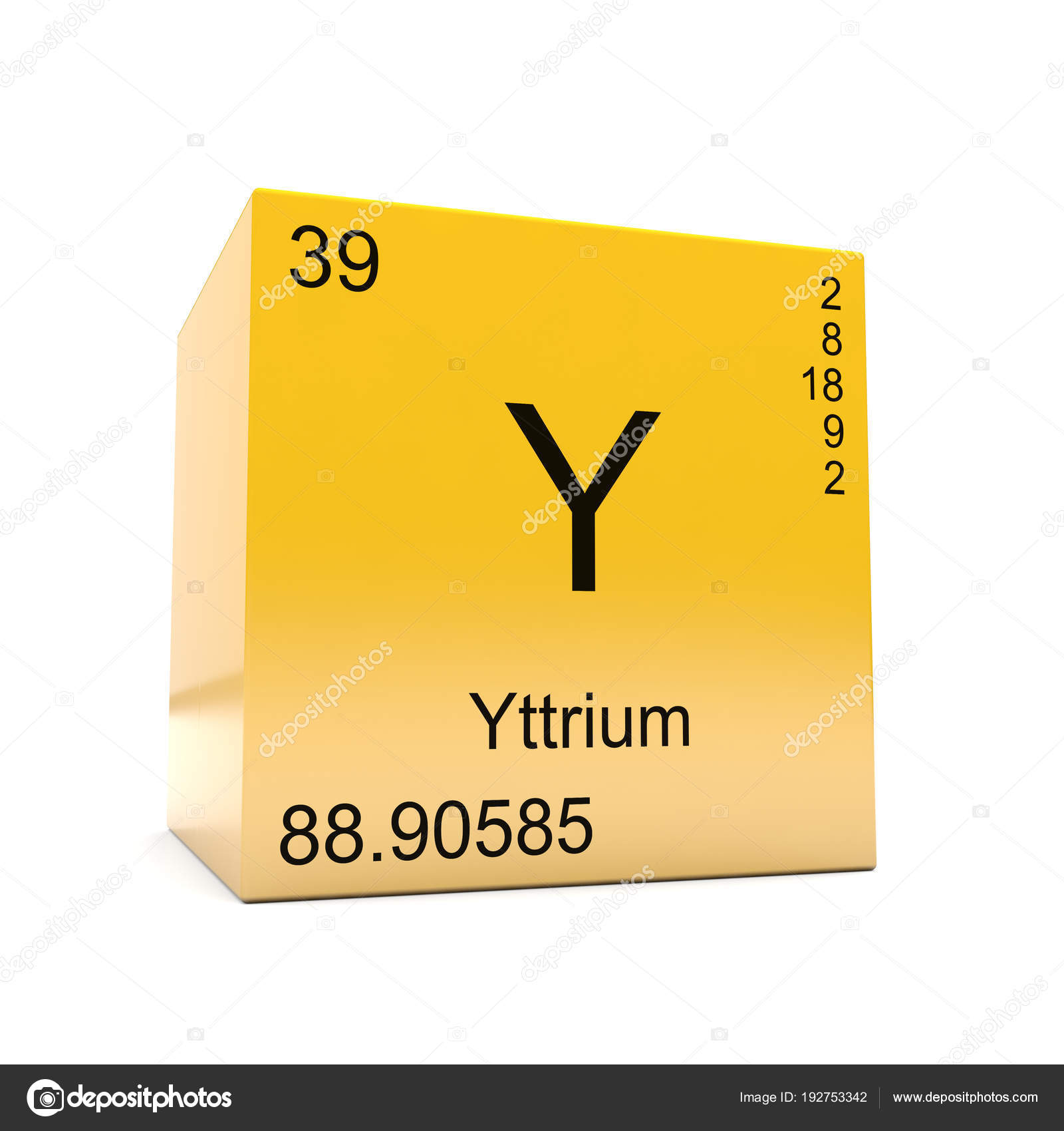 Yttrium Chemical Element Symbol Periodic Table Displayed Glossy