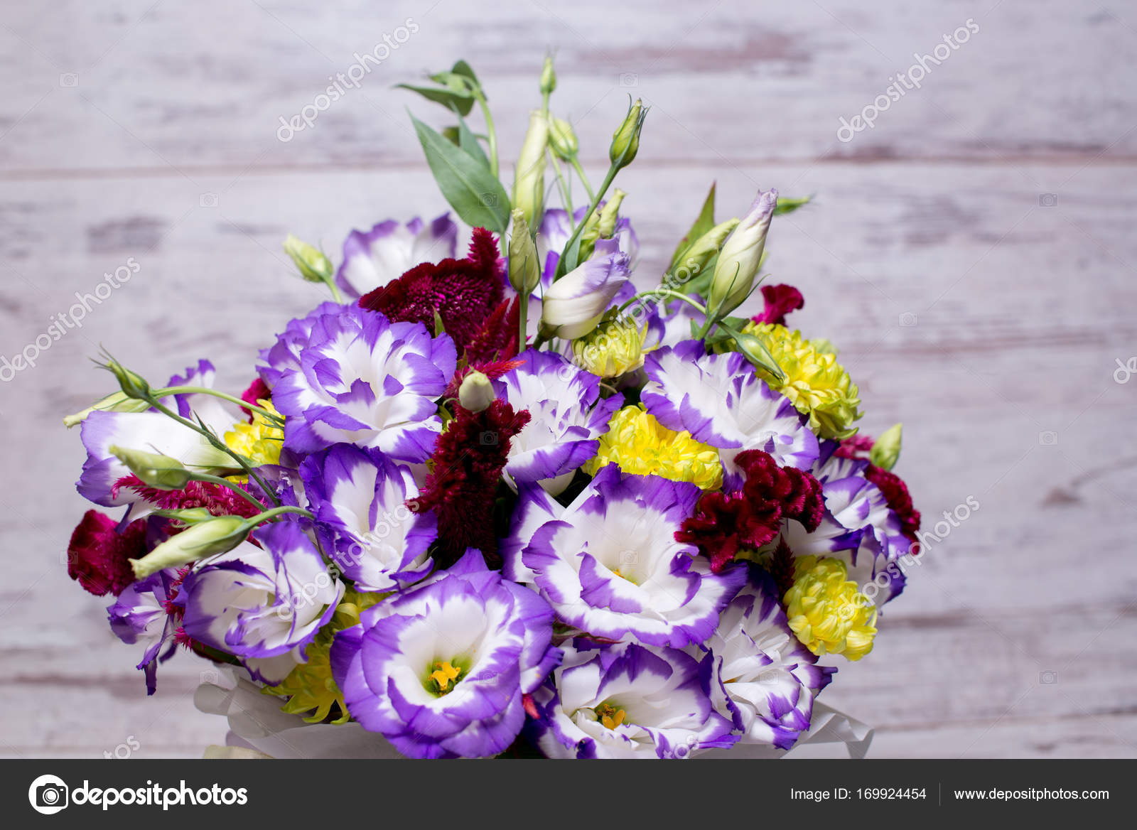 Blue And White Lisianthus Eustoma Flower Bouquet N A White Wooden