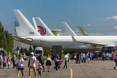 ULYANOVSK, RUSSIA. 19.08.2017. Holiday - AIR FLEET DAY / DAY OF CIVIL AVIATION / DAY OF THE AIRFLOW / DAY OF THE AIRCRAFT. Demonstration of several Tupolev Tu-204