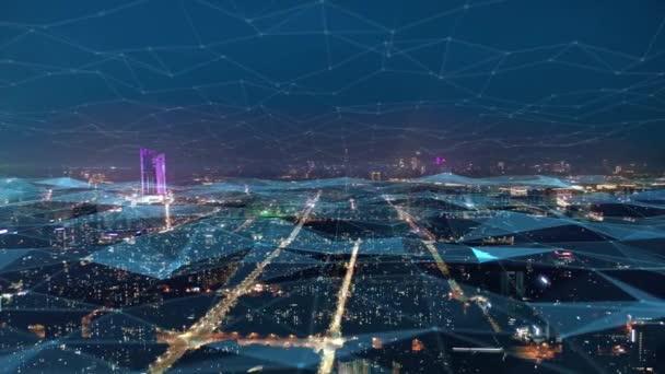 Smart Connected City Skyline. Futuristisches Netzwerkkonzept, City-Technologie
