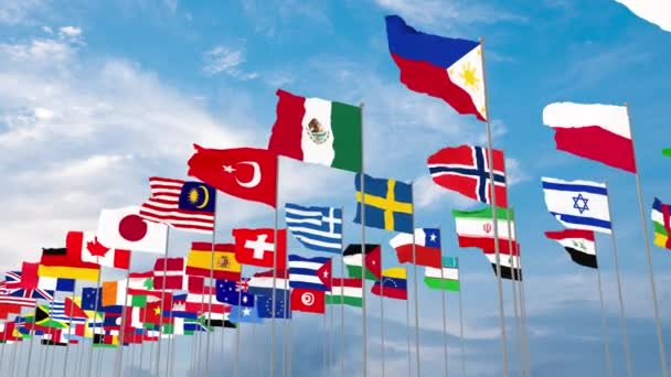 3d illustration flags of the world