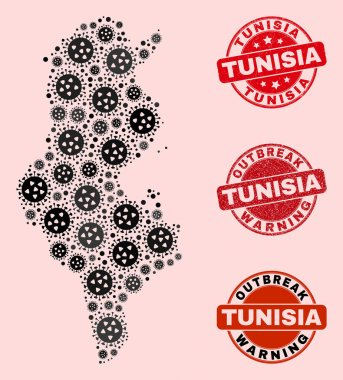 Flu Virus Composition of Mosaic Tunisia Map and Distress Stamps