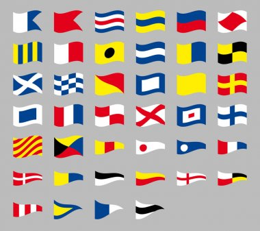 International maritime signal nautical waving flags, isolated on gray background